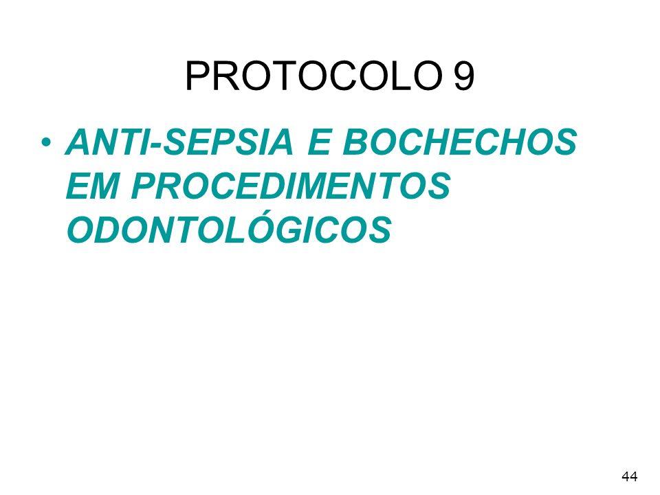 44 PROTOCOLO 9 ANTI-SEPSIA E BOCHECHOS EM PROCEDIMENTOS ODONTOLÓGICOS