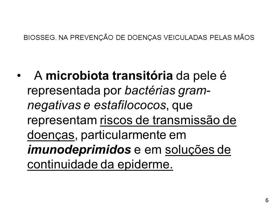 6 BIOSSEG. NA PREVENÇÃO DE DOENÇAS VEICULADAS PELAS MÃOS A microbiota transitória da pele é representada por bactérias gram- negativas e estafilococos