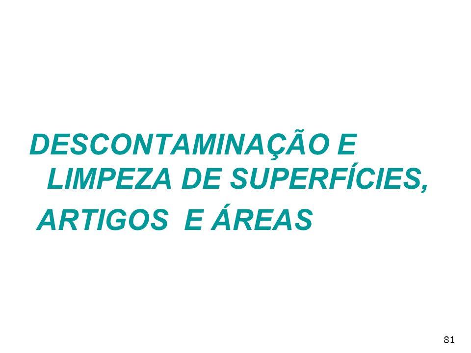 81 DESCONTAMINAÇÃO E LIMPEZA DE SUPERFÍCIES, ARTIGOS E ÁREAS