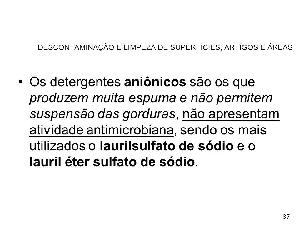 87 DESCONTAMINAÇÃO E LIMPEZA DE SUPERFÍCIES, ARTIGOS E ÁREAS Os detergentes aniônicos são os que produzem muita espuma e não permitem suspensão das go