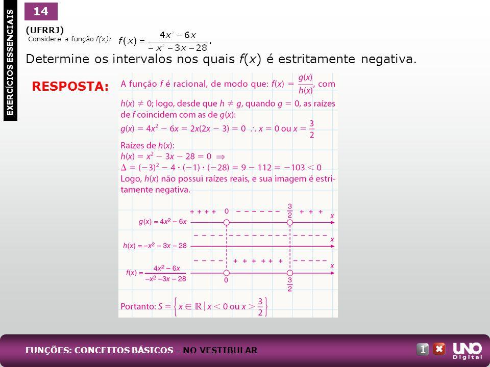 (UFRRJ) Considere a função f(x): Determine os intervalos nos quais f(x) é estritamente negativa. 14 EXERC Í CIOS ESSENCIAIS RESPOSTA: FUNÇÕES: CONCEIT