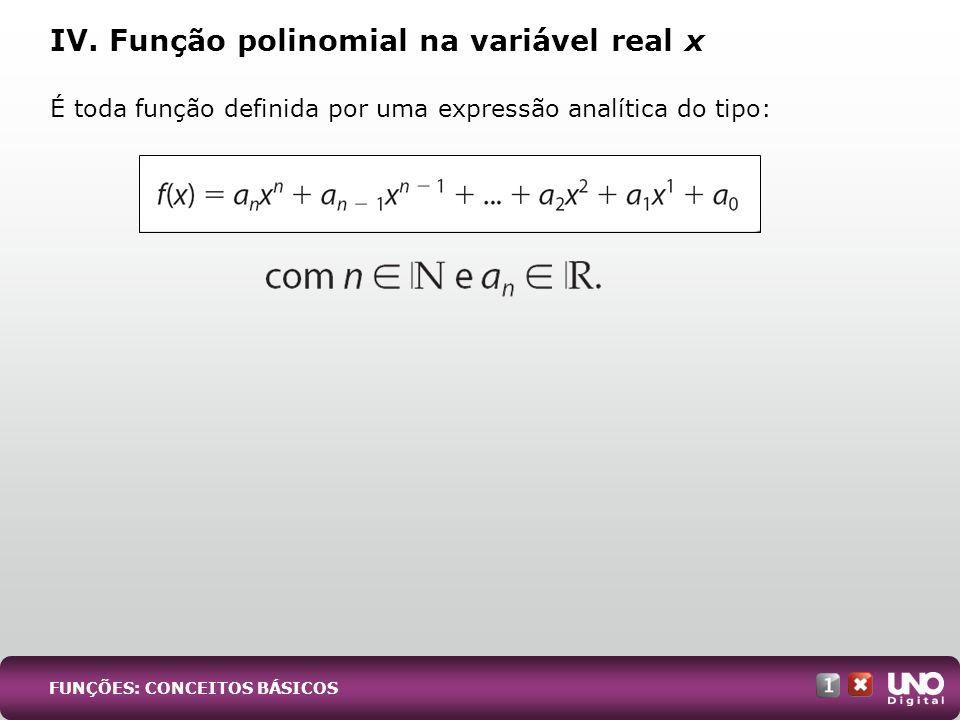 IV. Função polinomial na variável real x É toda função definida por uma expressão analítica do tipo: FUNÇÕES: CONCEITOS BÁSICOS