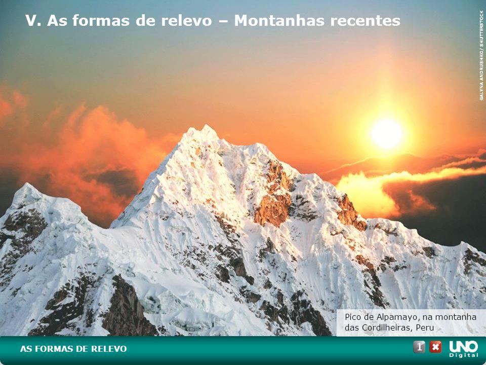 V. As formas de relevo – Montanhas recentes Pico de Alpamayo, na montanha das Cordilheiras, Peru AS FORMAS DE RELEVO GALYNA ANDRUSHKO/ SHUTTERSTOCK