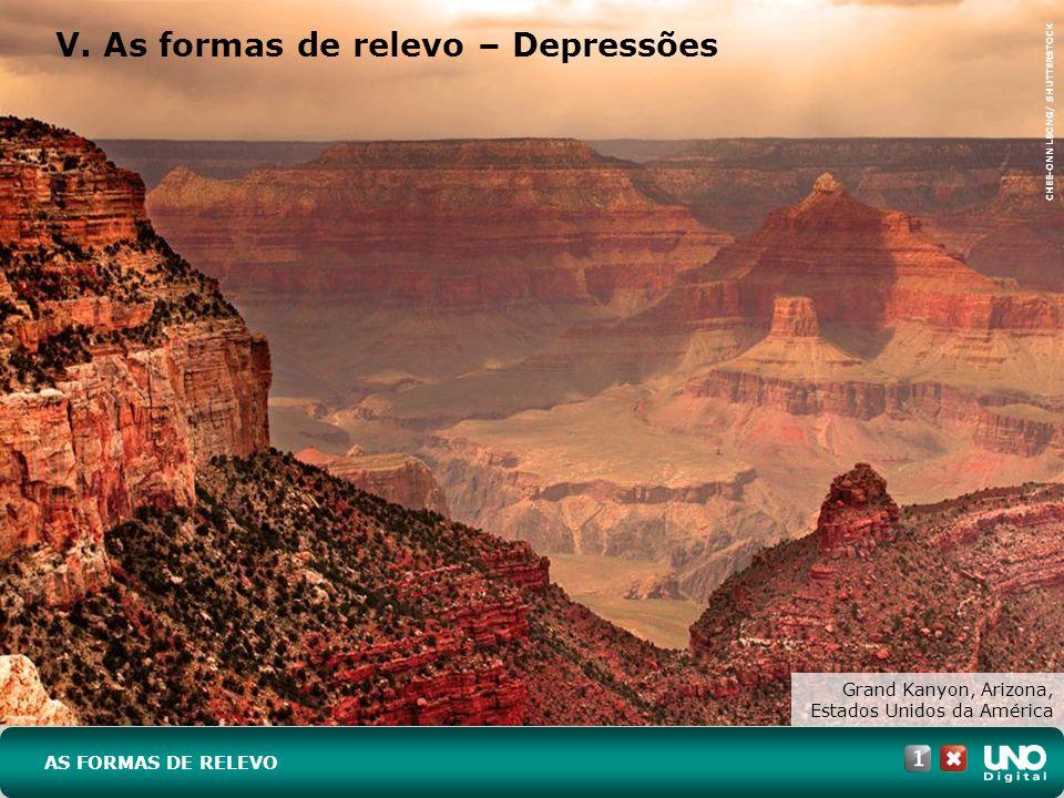 V. As formas de relevo – Depressões AS FORMAS DE RELEVO CHEE-ONN LEONG/ SHUTTERSTOCK Grand Kanyon, Arizona, Estados Unidos da América