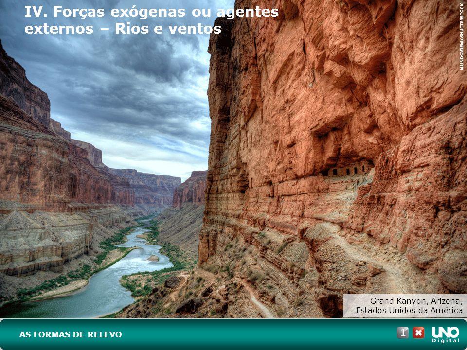 IV. Forças exógenas ou agentes externos – Rios e ventos AS FORMAS DE RELEVO Grand Kanyon, Arizona, Estados Unidos da América MUNDOVIEW/SHUTTERSTOCK