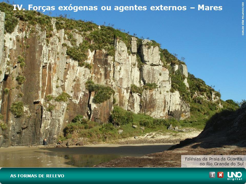 IV. Forças exógenas ou agentes externos – Mares Falésias da Praia da Guarita, no Rio Grande do Sul AS FORMAS DE RELEVO CARLOS DÍEZ POLANCO/CID