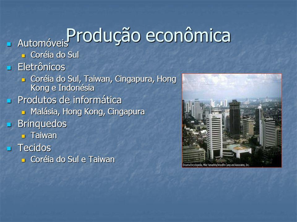 Produção econômica Automóveis Automóveis Coréia do Sul Coréia do Sul Eletrônicos Eletrônicos Coréia do Sul, Taiwan, Cingapura, Hong Kong e Indonésia Coréia do Sul, Taiwan, Cingapura, Hong Kong e Indonésia Produtos de informática Produtos de informática Malásia, Hong Kong, Cingapura Malásia, Hong Kong, Cingapura Brinquedos Brinquedos Taiwan Taiwan Tecidos Tecidos Coréia do Sul e Taiwan Coréia do Sul e Taiwan