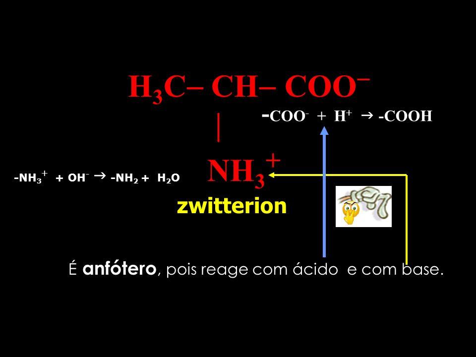 H 3 C CH COO NH 3 + Denomina-se de sal interno ou zwitterion