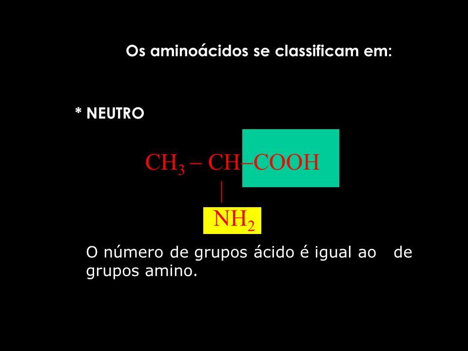 H 3 C CH COO NH 3 + zwitterion É anfótero, pois reage com ácido e com base.