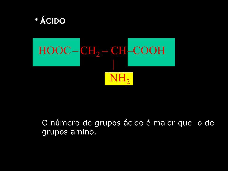 Os aminoácidos se classificam em: * NEUTRO CH 3 CH COOH NH 2 O número de grupos ácido é igual ao de grupos amino.