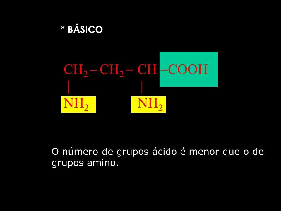 * ÁCIDO HOOC – CH 2 CH COOH NH 2 O número de grupos ácido é maior que o de grupos amino.