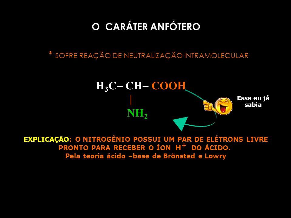 PROPRIEDADES FÍSICAS DOS AMINOÁCIDOS *solúveis em água *são sólidos *insolúveis em solventes orgânicos *não se volatilizam *altos pontos de fusão PROPRIEDADES QUÍMICAS DOS AMINOÁCIDOS * são anfóteros.( reagem com ácidos e com bases) * sofrem reação de polimerização.