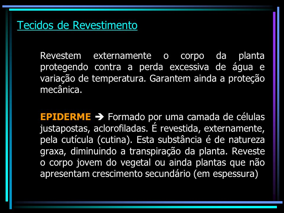 Especializações Pêlos (uni ou pluricelulares) Acúleos (saliências epidérmicas) Estômatos (pequenas válvulas epidérmicas relacionadas ao mecanismo de trocas gasosas entre a planta e o meio e com a transpiração).