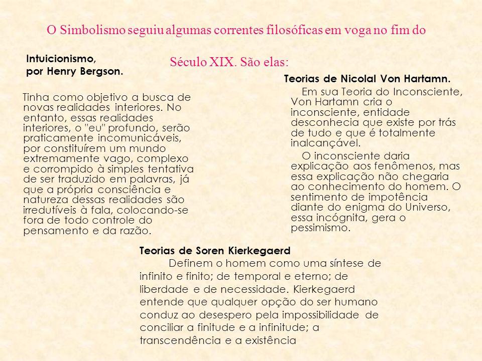 O Simbolismo seguiu algumas correntes filosóficas em voga no fim do Século XIX. São elas: Intuicionismo, por Henry Bergson. Tinha como objetivo a busc