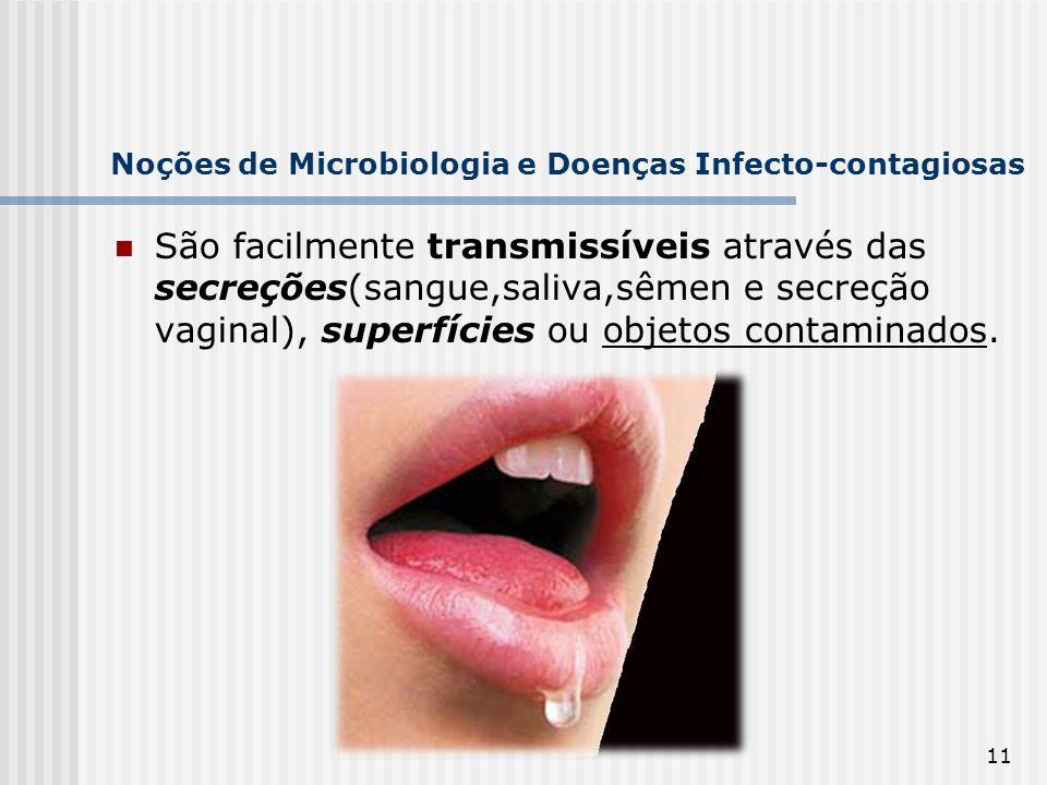 11 Noções de Microbiologia e Doenças Infecto-contagiosas São facilmente transmissíveis através das secreções(sangue,saliva,sêmen e secreção vaginal),