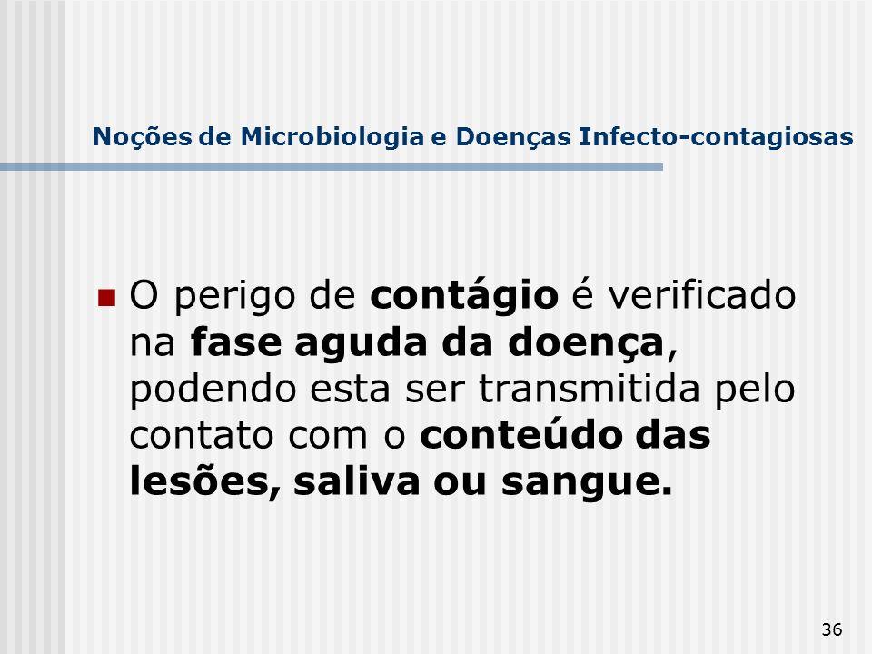 36 Noções de Microbiologia e Doenças Infecto-contagiosas O perigo de contágio é verificado na fase aguda da doença, podendo esta ser transmitida pelo