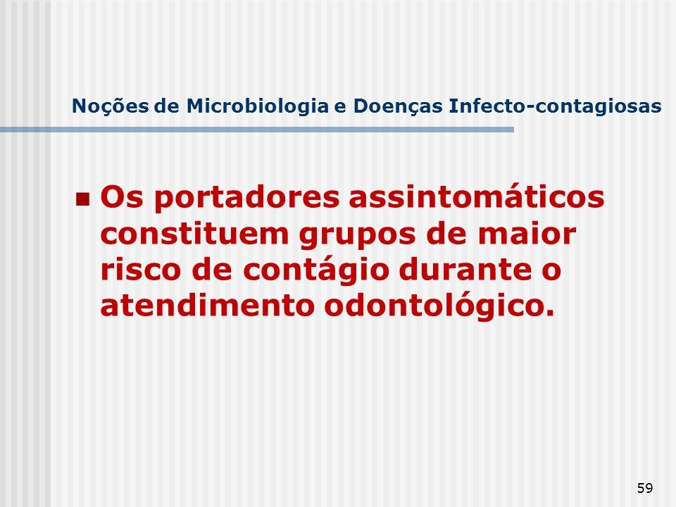 59 Noções de Microbiologia e Doenças Infecto-contagiosas Os portadores assintomáticos constituem grupos de maior risco de contágio durante o atendimen
