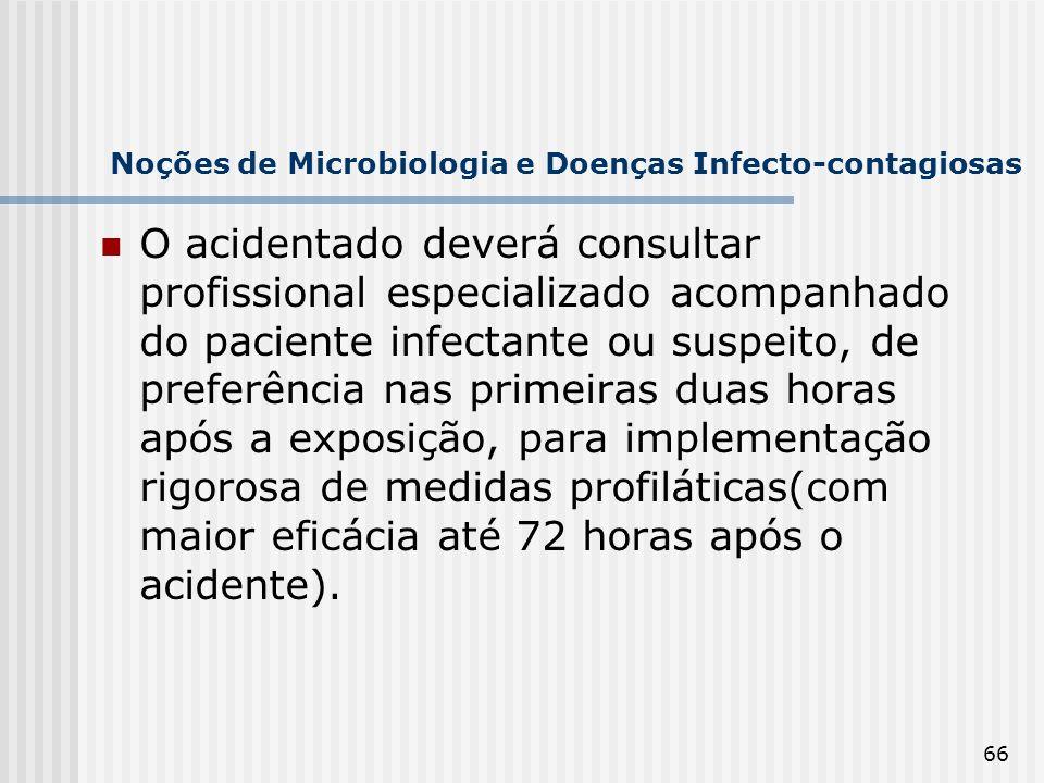 66 Noções de Microbiologia e Doenças Infecto-contagiosas O acidentado deverá consultar profissional especializado acompanhado do paciente infectante o