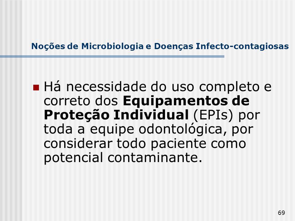 69 Noções de Microbiologia e Doenças Infecto-contagiosas Há necessidade do uso completo e correto dos Equipamentos de Proteção Individual (EPIs) por t