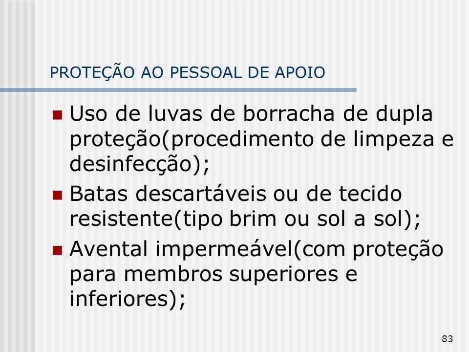 83 PROTEÇÃO AO PESSOAL DE APOIO Uso de luvas de borracha de dupla proteção(procedimento de limpeza e desinfecção); Batas descartáveis ou de tecido res