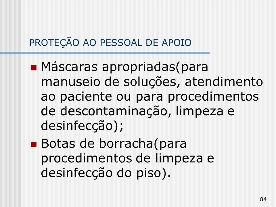 84 PROTEÇÃO AO PESSOAL DE APOIO Máscaras apropriadas(para manuseio de soluções, atendimento ao paciente ou para procedimentos de descontaminação, limp