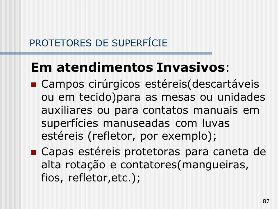 87 PROTETORES DE SUPERFÍCIE Em atendimentos Invasivos: Campos cirúrgicos estéreis(descartáveis ou em tecido)para as mesas ou unidades auxiliares ou pa