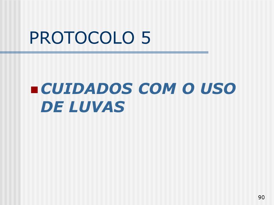 90 PROTOCOLO 5 CUIDADOS COM O USO DE LUVAS