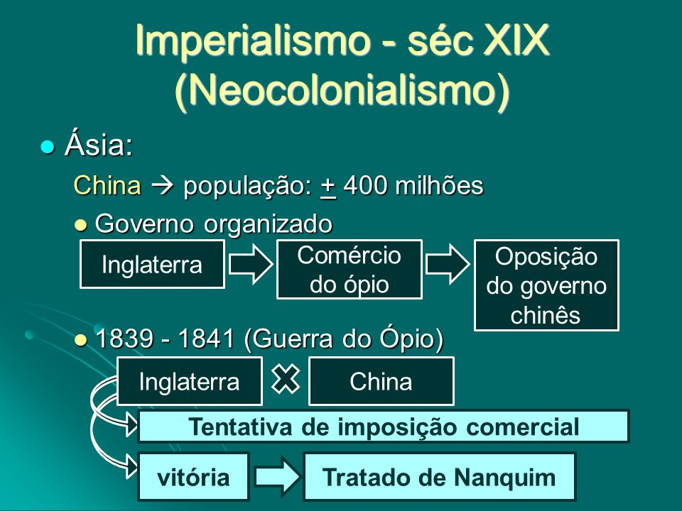 Imperialismo - séc XIX (Neocolonialismo) Ásia: Ásia: China população: + 400 milhões Governo organizado Governo organizado 1839 - 1841 (Guerra do Ópio)