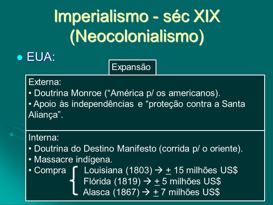 Imperialismo - séc XIX (Neocolonialismo) EUA: EUA: Externa: Doutrina Monroe (América p/ os americanos). Apoio às independências e proteção contra a Sa