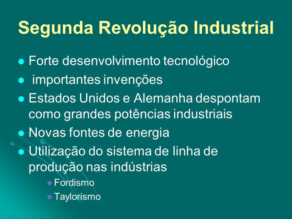 Segunda Revolução Industrial Forte desenvolvimento tecnológico importantes invenções Estados Unidos e Alemanha despontam como grandes potências indust