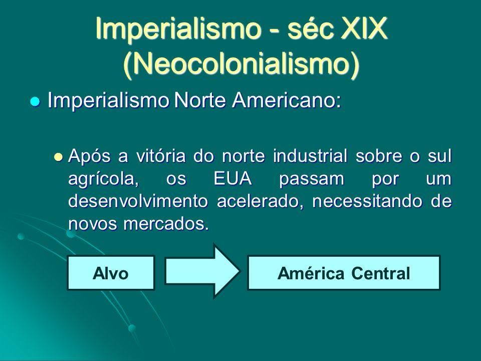 Imperialismo - séc XIX (Neocolonialismo) Imperialismo Norte Americano: Imperialismo Norte Americano: Após a vitória do norte industrial sobre o sul ag