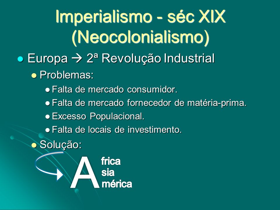 Imperialismo - séc XIX (Neocolonialismo) Europa 2ª Revolução Industrial Europa 2ª Revolução Industrial Problemas: Problemas: Falta de mercado consumid
