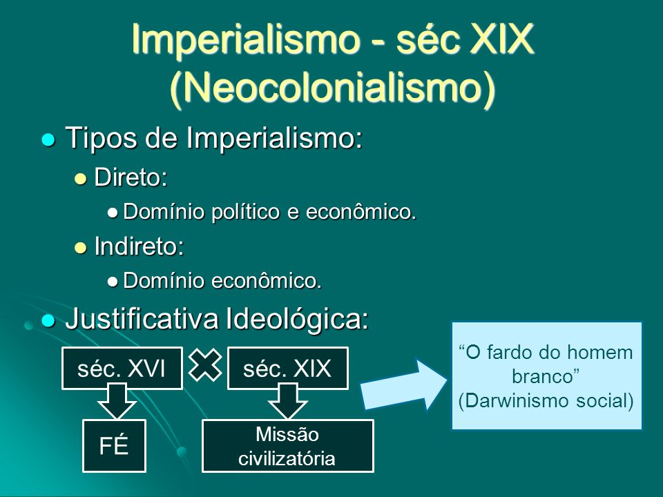 Imperialismo - séc XIX (Neocolonialismo) Tipos de Imperialismo: Tipos de Imperialismo: Direto: Direto: Domínio político e econômico. Domínio político