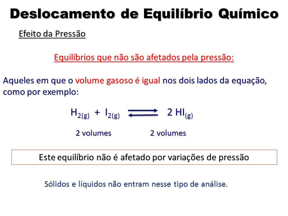 Equilíbrios que não são afetados pela pressão: Aqueles em que o volume gasoso é igual nos dois lados da equação, como por exemplo: 2 volumes 2 volumes