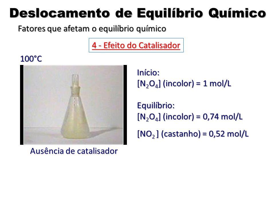 Ausência de catalisador Início: [N 2 O 4 ] (incolor) = 1 mol/L Equilíbrio: [N 2 O 4 ] (incolor) = 0,74 mol/L [NO 2 ] (castanho) = 0,52 mol/L 100°C 4 -