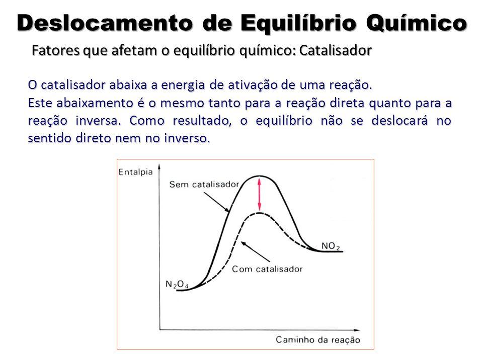 O catalisador abaixa a energia de ativação de uma reação. Este abaixamento é o mesmo tanto para a reação direta quanto para a reação inversa. Como res