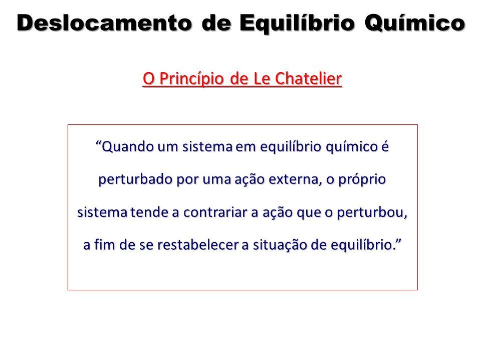 O Princípio de Le Chatelier Quando um sistema em equilíbrio químico é perturbado por uma ação externa, o próprio sistema tende a contrariar a ação que