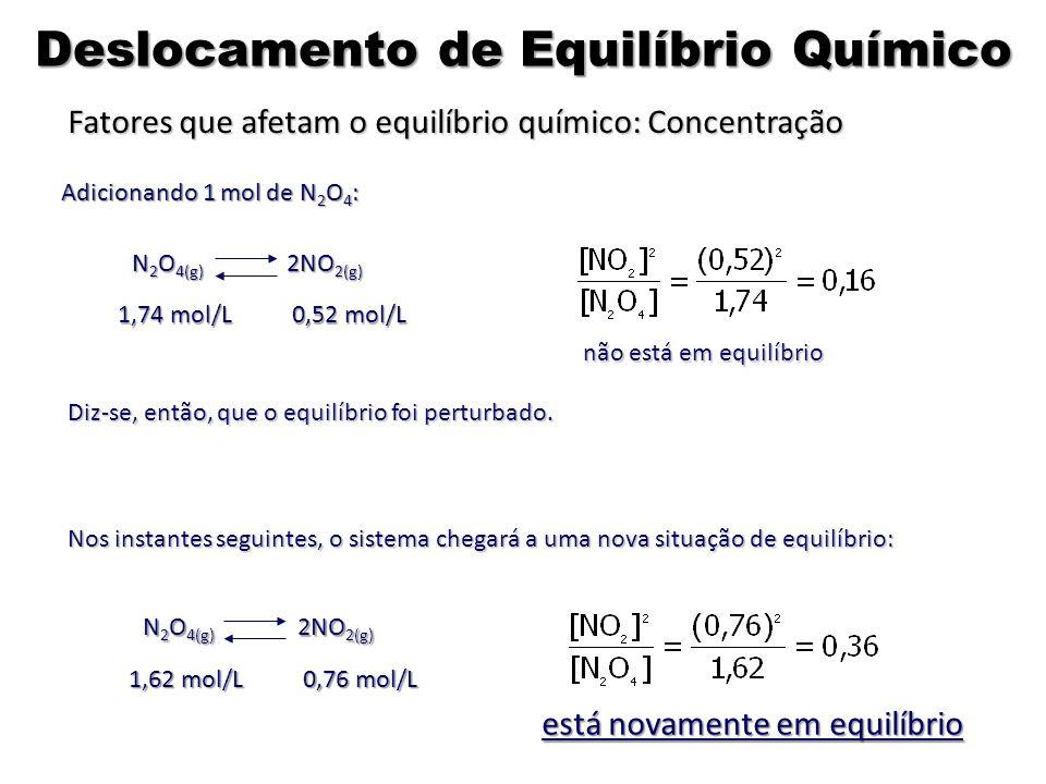 Adicionando 1 mol de N 2 O 4 : não está em equilíbrio Diz-se, então, que o equilíbrio foi perturbado. Nos instantes seguintes, o sistema chegará a uma