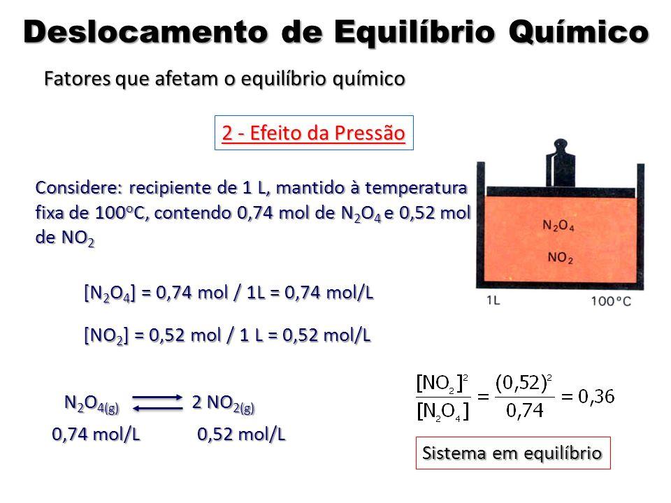 Considere: recipiente de 1 L, mantido à temperatura fixa de 100 o C, contendo 0,74 mol de N 2 O 4 e 0,52 mol de NO 2 [N 2 O 4 ] = 0,74 mol / 1L = 0,74