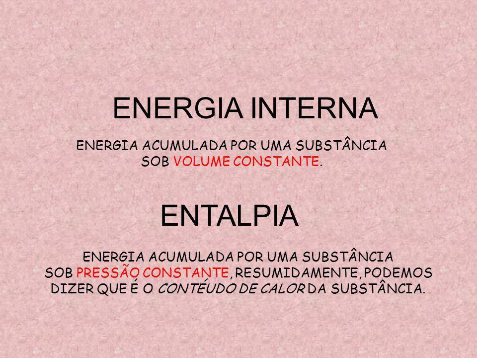 ENTALPIA ENERGIA ACUMULADA POR UMA SUBSTÂNCIA SOB PRESSÃO CONSTANTE, RESUMIDAMENTE, PODEMOS DIZER QUE É O CONTÉUDO DE CALOR DA SUBSTÂNCIA.