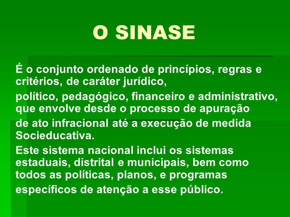 O SINASE É o conjunto ordenado de princípios, regras e critérios, de caráter jurídico, político, pedagógico, financeiro e administrativo, que envolve desde o processo de apuração de ato infracional até a execução de medida Socieducativa.