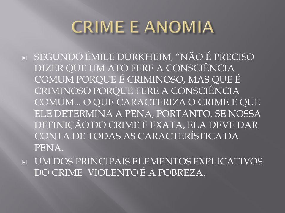 SEGUNDO ÉMILE DURKHEIM, NÃO É PRECISO DIZER QUE UM ATO FERE A CONSCIÊNCIA COMUM PORQUE É CRIMINOSO, MAS QUE É CRIMINOSO PORQUE FERE A CONSCIÊNCIA COMU