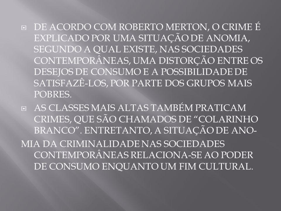 DE ACORDO COM ROBERTO MERTON, O CRIME É EXPLICADO POR UMA SITUAÇÃO DE ANOMIA, SEGUNDO A QUAL EXISTE, NAS SOCIEDADES CONTEMPORÂNEAS, UMA DISTORÇÃO ENTR