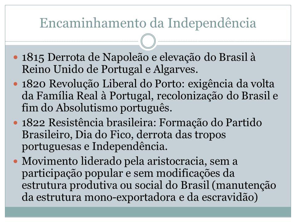 Encaminhamento da Independência 1815 Derrota de Napoleão e elevação do Brasil à Reino Unido de Portugal e Algarves.