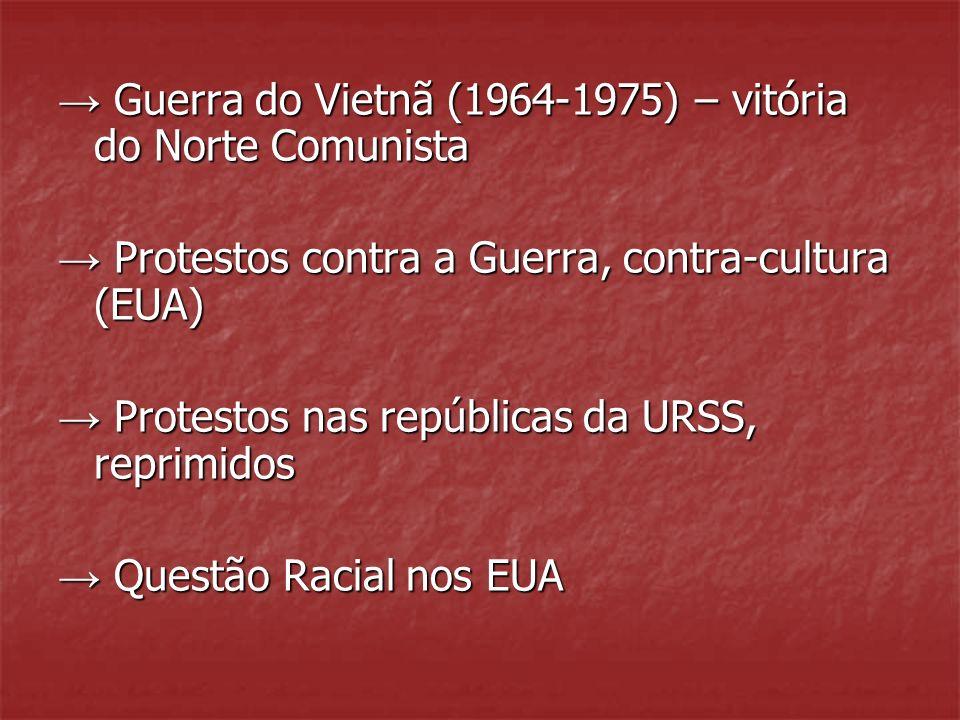 Guerra do Vietnã (1964-1975) – vitória do Norte Comunista Guerra do Vietnã (1964-1975) – vitória do Norte Comunista Protestos contra a Guerra, contra-