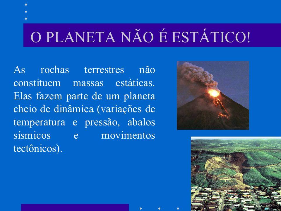 O PLANETA NÃO É ESTÁTICO.As rochas terrestres não constituem massas estáticas.