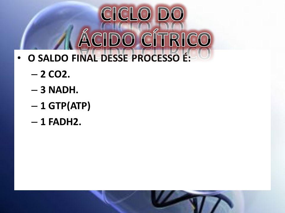 O SALDO FINAL DESSE PROCESSO É: – 2 CO2. – 3 NADH. – 1 GTP(ATP) – 1 FADH2.