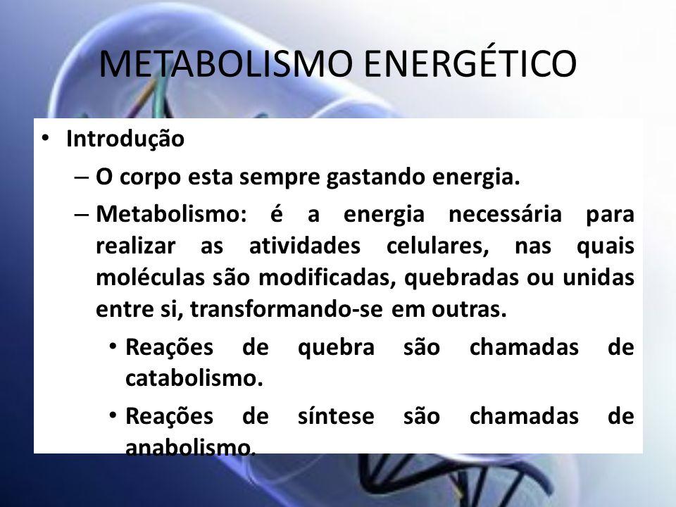 METABOLISMO ENERGÉTICO Introdução – O corpo esta sempre gastando energia. – Metabolismo: é a energia necessária para realizar as atividades celulares,