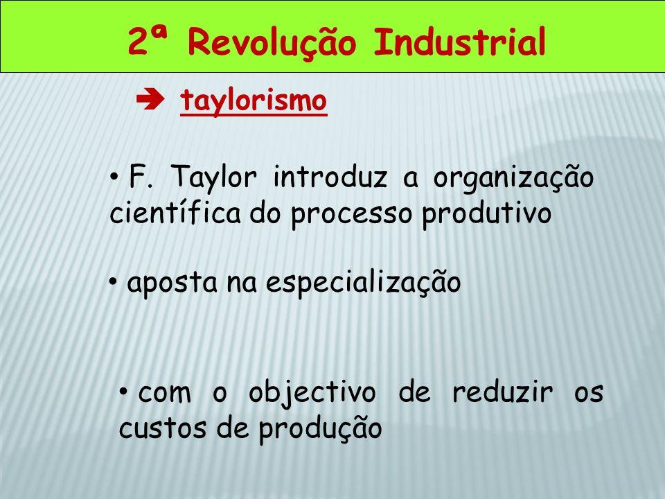 2ª Revolução Industrial taylorismo F. Taylor introduz a organização científica do processo produtivo aposta na especialização com o objectivo de reduz