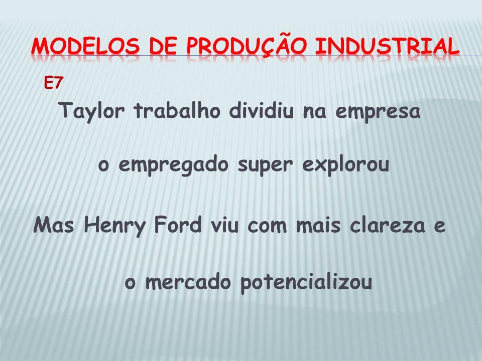 E7 Taylor trabalho dividiu na empresa o empregado super explorou Mas Henry Ford viu com mais clareza e o mercado potencializou
